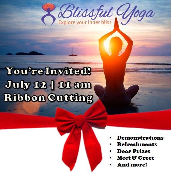 blissful yoga ribbon cutting