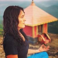 me portrait meditating at temple at mount